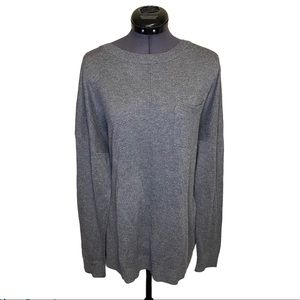 Ellen Tracy Pullover Pocketed Chest Grey Sweater